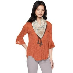 COPY - ONEWORLD Blouse with Tassel Scarf NWT